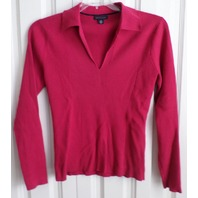 Tommy Hilfiger Long Sleeve Pink V Neck Ribbed Sweater W/ Collar