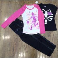 "All Justice Sz 8R Nwt ""Hoops"" Shirt Black Sequin Jeans Bones Tee Fall Lot/3"