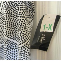 Only Nine Shazam Dots Black & White Blouse Nwt Sz 1X Woman