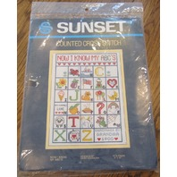 "Sunset Counted Cross Stitch I Know My Abc'S 9"" X 12"" Sampler New"
