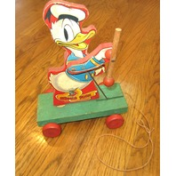 Fisher Price #400 Donald Duck & Twirling Baton FP Wooden Pull Toy