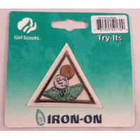 Girl Scout Merit Badge Uniform Patch Penny Power Try-It Triangle New In Package