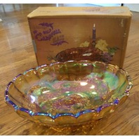 """Vtg Indiana Glass Gold Carnival Fruit Bowl In Box Oval Center 12"""" 1198 With Box"""