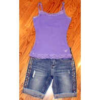 NEW Justice Girls Sz 8R Lot Studded Destroyed Cuff Jeans Shorts 2 Cami
