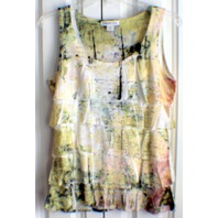 Coldwater Creek Yellow Ruffled Contemporary Abstract Design Sz 6-8