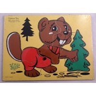 Conner Toy The Happy Beaver With A Tree 7 Pc Wooden Puzzle