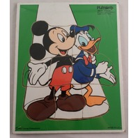 Playskool Play School Vintage Wooden Puzzle Mickey Mouse And Donald Duck 190-13