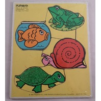 Playskool Play School Vintage Wooden Puzzle Water Pals Fish Turtle Snail Frog