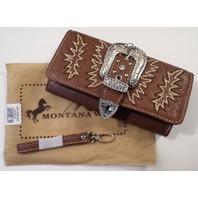 Montana West Sweetheart Fringe Handbag Purse Silvertone Studding New Belt Buckle