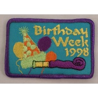 Girl Scout Patch Birthday Week 1998 Happy Party Hat Balloons Gs #Gspp