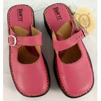 Girls Born New Primrose Pink Leather Wedge Clog Shoes Sz Us 13M 31 Spring Fall