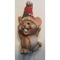 Hallmark Ornament Tree Trimmings Mouse In A Santa Hat 1983