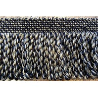 Neutral Tan Black 2 1/3 Yards Bullion Fringe Upholstery Lamp Curtaintrim B-11
