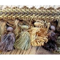 Green, Brown, And Gold Tassel Fringe 3.5 Yards Upholstery Lamp Curtaintrim B-15