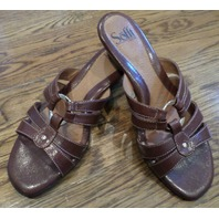 Sofft - Tobacco Brown Leather Slide On Heeled Sandals Size 7
