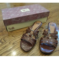 Sofft - Tobacco Brown Leather Slide On Heeled Sandals Size 7