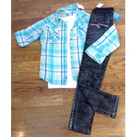 All Justice S 8 10 Lot/3 Nwt Sparkle Jeans White Tank Plaid Button Shirt Spring