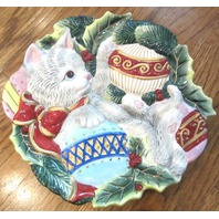 Fitz & Floyd Cristmas Kitty Canape Cookie Plate Christmas Cat  2003 Kitten