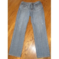 Chicos Platinum Womens Teen Strait Leg Denim Blue Jeans Distressed Sz 0 Euc