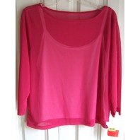 Nwt 2 Pc Liz Claiborne Cami Tank & Romantic Pink Lagenlook Flowy Top Sz L