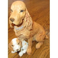 Country Artists Cocker Spaniel With Puppy Dog Golden Color With Box