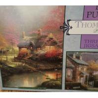 Thomas Kinkade 3 Puzzle Deluxe Set 100/550/700 Piece Cottage Brooke Ceaco Jigsaw