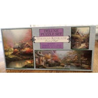 Thomas Kinkade 3 Puzzle Deluxe Set 100/550/700 Piece Cottage Brooke Ceaco Jigsaw