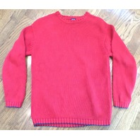 Boys Gap Sz 7 8 Holiday Crew Neck Red Long Sleeve Sweater Navy Trim Euc