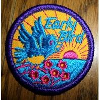 Girl Scouts Gs Vintage Uniform Patch Early Bird Purple Border