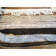 White And Black Fringe Beads And Silver Vintage Lace Trim Lot Notions