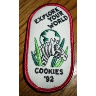 Girl Scouts Gs Vintage Uniform Patch 1992 Cookies Explore Your World