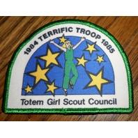 Girl Scouts Gs Vintage Uniform Patch 1984 Terrific Troop 1985 Totem Council