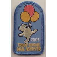 Girl Scouts Gs Vintage Uniform Patch Troop Cookie Goal Acheiver 2003 Teddy Bear