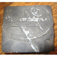 """Unusual Printers Block """"Compliments Of"""" Cursive Writing Stamp"""