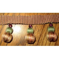Green And Lt Brown 1 Yards Pom-Pom  Bead Upholstery Trim B-23
