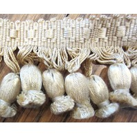 Neutral Light Tan Beige 1 Yard Pom-Pom Tassel Upholstery Trim B-21