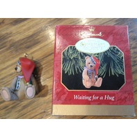 Hallmark Keepsake Ornament Waiting For A Hug Teddy Bear With Stocking Cap