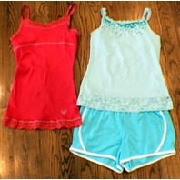 Justice New Sz 10 Athletic Shorts 3 pc Lot 2 Sequin Lace Camis