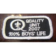 Vintage Uniform Patch Boy Scout Quality Unit 2007 Black And Silver 100% Boyslife