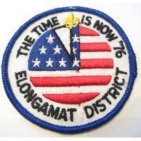 Elongamat District The Time Is Now 1976 Flag Bsa Boy Scout Uniform Patch