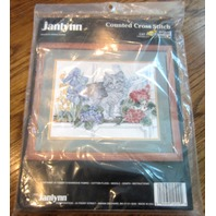 Janlynn Counted Cross Stitch Needlepoint Cat In The Window 1991 #125-19