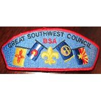Bsa Boy Scout Uniform Pocket Flap Patch Great Southwest Council Misprint On Flag