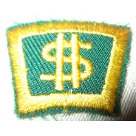 Vintage Uniform Patch Boy Scout Bsa Rocker Bar Award Gold Green Money $$$ Sign