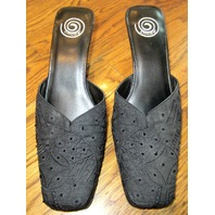 Chico'S High Heel Shoes Sz 7 M Black Beaded Fabric Party Pump