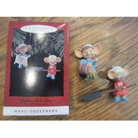 "New 1993 ""Popping Good Times"" Set Of 2 Hallmark Ornaments Cute Mice With Popcorn"