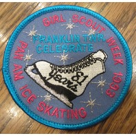 Girl Scouts Vintage Uniform Patch 1993 Pan Am Ice Skating Franklin Twr Celebrate
