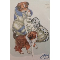 """Vintage Janlynn Embroidery """"Puppy Fun"""" Kit - Nip New With 3-D Shoe Lace Effect"""