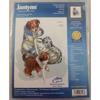 "Vintage Janlynn Embroidery ""Puppy Fun"" Kit - Nip New With 3-D Shoe Lace Effect"