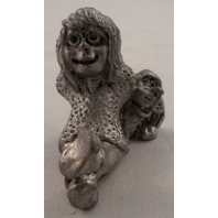 Pewter Collectible Figurine Little With A Puppy Dog Sitting Position