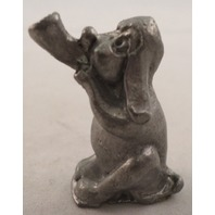 Pewter Collectible Figurine Animal Bugle Playing Puppy Dog